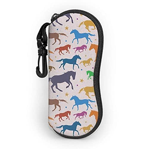 Epaynetwork Fundas de Gafas Colorful Running Horses Cinturón de neopreno impermeable con cremallera, gafas de seguridad, mosquetón, gafas de sol portátiles, bolso suave