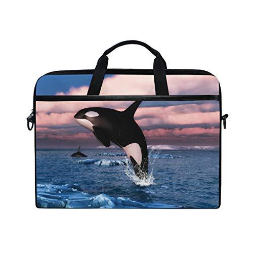 CPYang Laptop Bag Jumping Killer Whale Ocean Computer Laptop Case Notebook Laptop Shoulder Messenger Bag Sleeve for Boys Girls Women Men