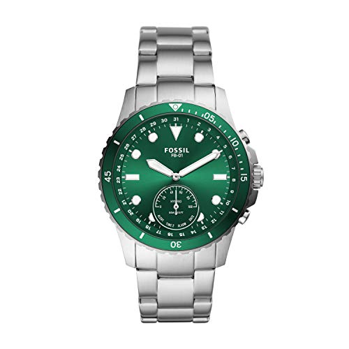 Fossil Men's FB-01 Stainless Steel Hybrid Smartwatch, Color: Silver/Green Dial (Model: FTW1301)