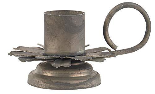 IB Laursen kandelaar voor staafkaarsen antiek shabby kandelaar bloem met handvat 57059-18