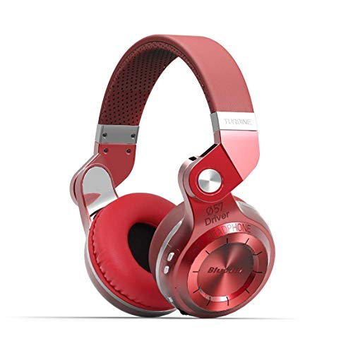 Bluedio T2S Bluetooth Headphones On Ear with Mic, 57mm Driver Rotary Folding Wired and Wireless Headphones for Cell Phone/TV/PC, 40 Hours Play TimeVoice Control Cloud Function (Red)