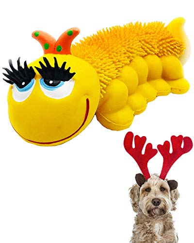 Sensory Caterpillar - Squeaky Dog Toys - Soft, Natural Rubber (Latex) - for Puppies, Small Dogs & Medium Dogs - Complies with Same Safety Standards as Children's Toys (1 Pack)