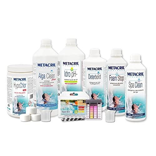Metacril Kit para spa e hidromasaje a base de hiclorito – Kit Hypo Chlor Spa – Ideal para piscina o hidromasaje (Teuco, Jacuzzi, Dimhora, Intex, Bestway, etc.).