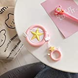For AirPods Caso de Kawaii Sailor Moon Luna del Gato del Auricular for Apple Casos Airpods 1 2 Cubierta Protectora con el Dedo anular de la Correa de Color Rosa (Color : Pink Satr)