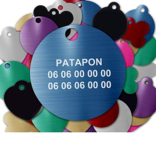 Gravure Concept Médaille pour Chien Et Chat À Personnaliser – Médaillon Gravé 31 mm - 1 à 3 Lignes – 8 Couleurs Disponibles (Bleu, Rond)