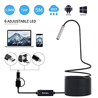 Endoscope USB, KinCam 3 in 1 Semi-Rigid USB Borescope 1200P HD with 5.5mm Waterproof Snake Camera with 6 Adjustable Led for Android Smart Phone, Tablet, PC & MacBook
