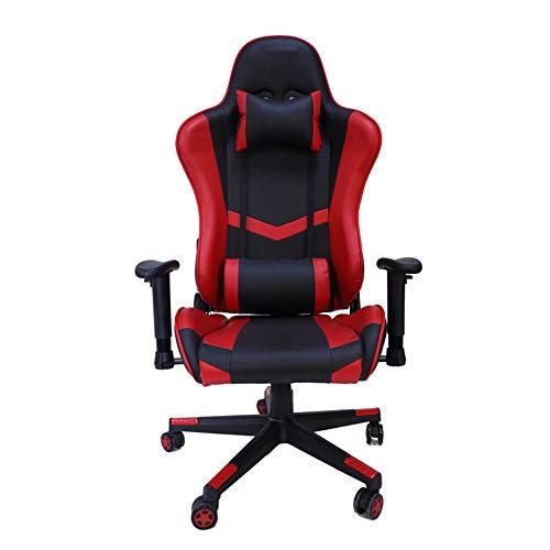 CHENPENG Massage Gaming Chair Ergonomischer Rennsport Computer Büro Schreibtischstuhl E-Sports Stuhl mit Fußstütze und Massage Rückenlehne und Lendenkissen,Rot,no footrest