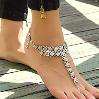 Women Jewelry Anklets - Vintage Antique Silver Flowers Beach Anklet Women Jewelry -1 x AnkletNotice: 1.Due to the difference between different monitors the picture may not
