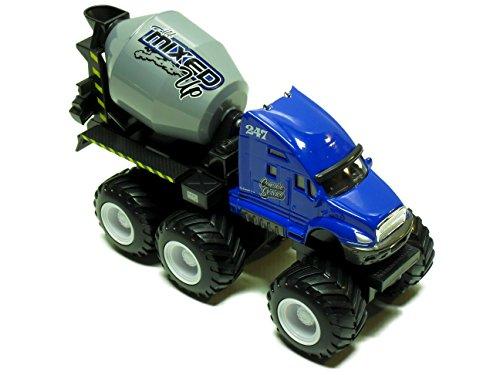 Maisto Fresh Metal Builder Zone Quarry Monster - Blue Concrete Mixer Truck - Motorized 6-Wheeler
