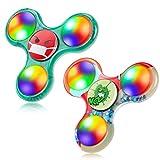 FIGROL Fidget Spinner, 2 Pack Led Light Up Fidget Spinner- Finger Toy Hand Fidget Spinner-for Kids with Anxiety Stress Reduce, Birthday Gift (Red Green)
