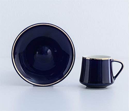 MDCG Türkische Keramik Kaffeetasse und Untertasse Set Macarons Restaurant Nachmittagstee Tasse, 6 Personen Kaffeeservice-180ml_6-teiliges Set königsblauer Tassen und Untertassen