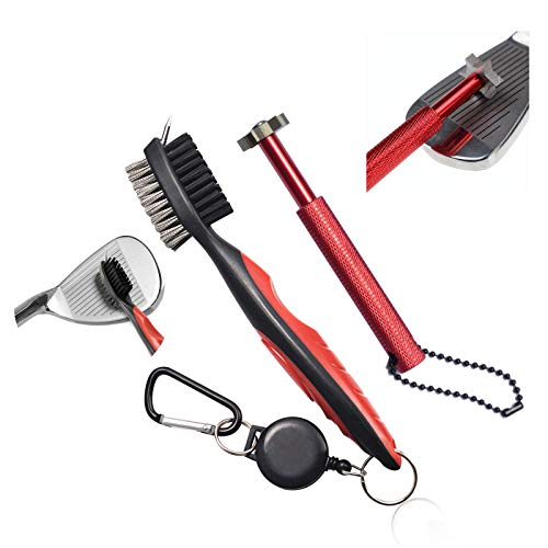 Xintan Tiger Golf Clean Tool -Practical Clean Tool for All Golf Irons (Golf Club Brush and 6 Heads Golf Club Groove Sharpener,Red)