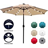Sunnyglade 9' Solar 24 LED Lighted Patio Umbrella with 8 Ribs/Tilt Adjustment and Crank Lift System...