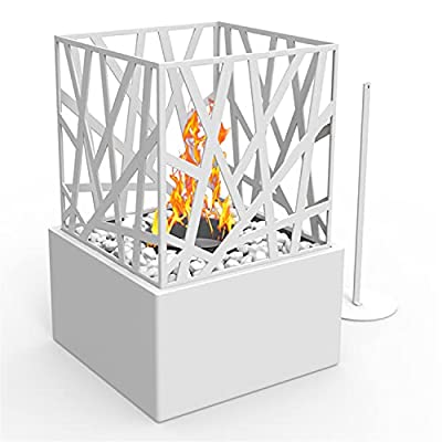 Regal Flame Indoor Outdoor Bruno Ventless Tabletop Portable Bio Ethanol Fireplace - White