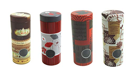 4x Kaffeepaddosen, Dekodose, Aufbewahrungsbehälter für Kaffeepads (4 Stück) + Pad Metallheber