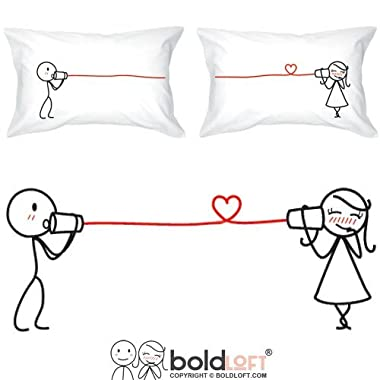 BOLDLOFT Say I Love You Couples Pillowcases| Couples Gifts| Gifts for Her| Girlfriend Gifts| Wife Gifts| Anniversary Gifts for Her| His and Hers Gifts|Boyfriend Girlfriend Gifts| Husband Wife Gifts