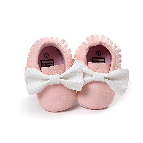 Morbuy Baby Schuhe PU Mädchen und Jungen Kleinkind Babyschuhe Neugeborene Fringed Bogen Anti-Rutsch Weiche Alleinige Krabbelschuhe Wanderer (12cm / 6-12 Monate, Rosa weiß)