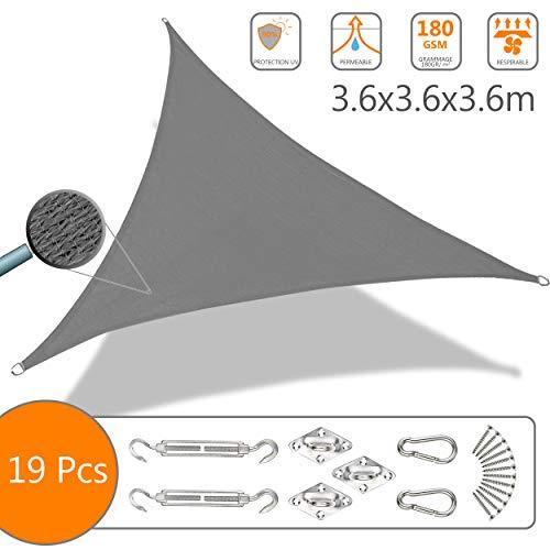 Voile d'ombrage Triangle avec Le Kit de Fixation | Matière résistante aéré 100% Nouveau HDPE-180g/m2 | Bloque 90% Rayons UV | Kit de Montage Inclus |Taille 3.6x3.6x3.6M Gris