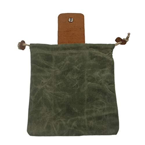 Floepx Canvas Bushcraft Tasche mit Lederbezug & Schnalle Faltbare Hochleistungs-Werkzeugtasche mit Kordelzug für Camping im Freien,Canvas Bushcraft Bag with Leather Cover & Buckle
