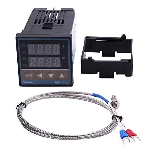 Fransande REX-C100 - Salida de relé de termostato de contrapeso de temperatura digital + sensor de termopar de tipo K 48 x 48 1300 C