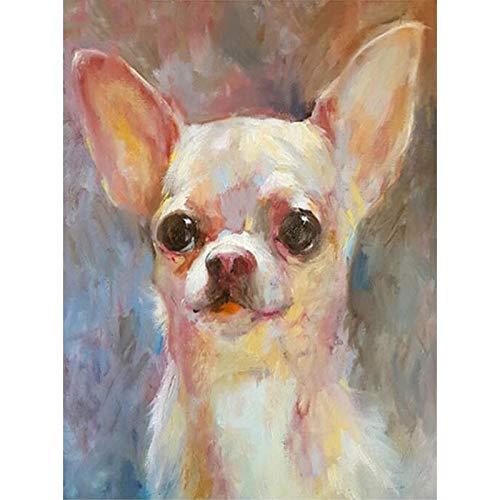 Zimal Full Drill Round Diamond Embroidery White Chihuahua Dog DIY Diamond Painting Cross Stitch Pattern Sewing Art Crafts Home Decor 11.8 X 15.8 Inch