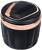 AGWa Auto-Aschenbecher mit Beleuchtung Edelstahl-Liner abnehmbar und waschbar Multifunktional mit Deckel Led Aschenbecher, Silber,Roségold
