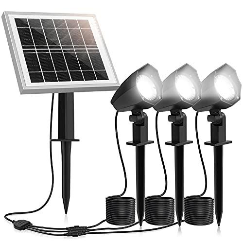 MEIHUA Solar Strahler 3 Stück Solar Gartenleuchte IP66 wasserdichte, Solarlampen für außen, mit Erdspieß, für Gärten, Sträucher und Bäume Tageslicht Weiß…