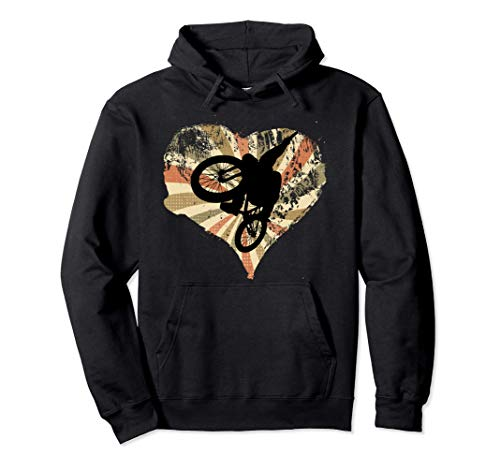 Retro heart cyclist flies with mountain bike Pullover Hoodie
