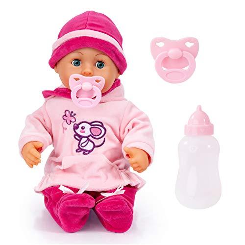 Bayer Design 93824BD Babypuppe First Words mit Schlafaugen, 24 Babylaute, 38 cm, pink, rosa mit Maus