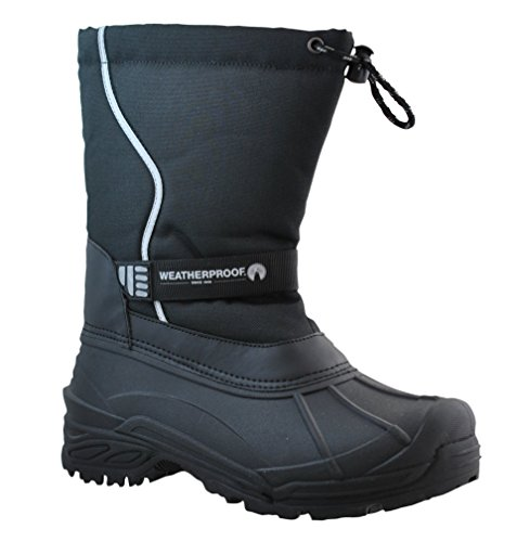 Weatherproof Mens Snow Boots with Bungee Closure All-Weather Insulated Winter Boots Built for Comfort, Durability - Keeps Feet Warm & Dry Black