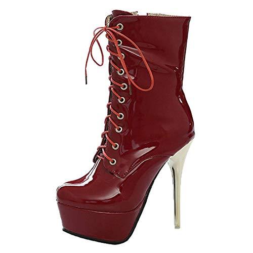 MISSUIT Damen Extreme Plateau High Heels Stiletto Stiefeletten mit Schnürung Ankle Boots Lack Reißverschluss(Rot,39)