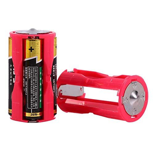 Mugast 4pcs AAA auf C Batterie Adapter,4 Stücke AAA zu Größe C Parallel Akku Konverter Adapter,Umweltfreundlich Battery Converter Batteriehalter Box für Elektronik-/Notfallsituationen Rot