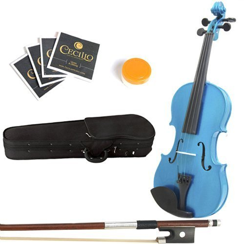 Mendini MA-Blue Viola mit Koffer/Kolofonium/Bogen/Saiten 40,6 cm (16 Zoll) blau