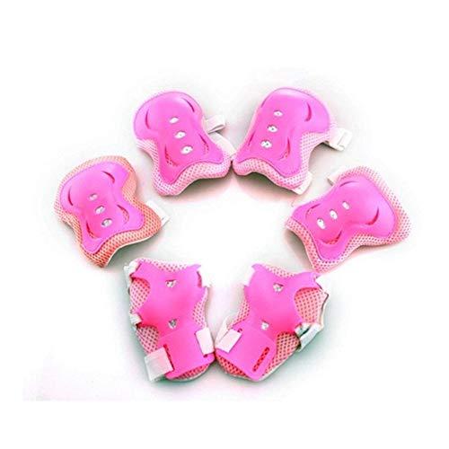 YUXIN Zhaochen 6 Stück/Set von Kindern Outdoor Sport Schutzausrüstung, Knieschützer, Ellbogenschützer, Reiten oder Fahren Handgelenk-Pads, Roller Skating Sicherheitsschutz (Color : Pink)