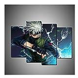 Sin marco 4 piezas Naruto Wall Art Prints Modular Poster para sala de estar, decoración del hogar, lienzo pintura Sasuke Anime Pictures (Color A)