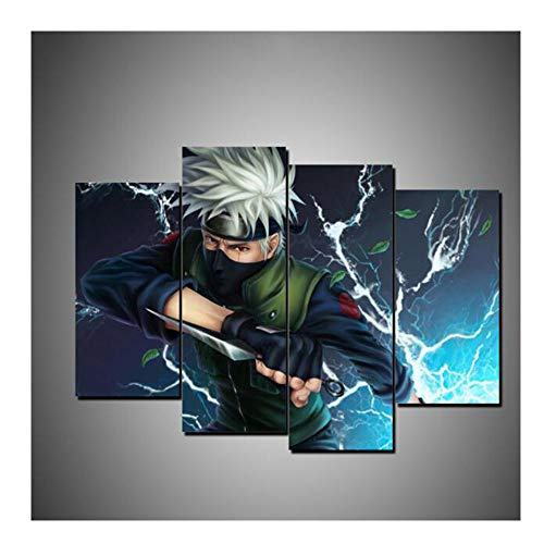 No Frame 4Pieces Naruto Wall Art Prints Modular Poster for Living Room Home Decor Canvas Painting Sasuke Anime Pictures (Color A)