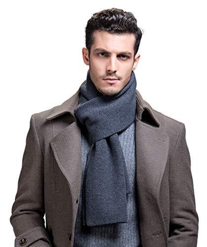 RIONA Sciarpa Uomo Giovane Autunno Inverno 100% Lana Sciarpa Morbido Casual Business 180 * 30 cm