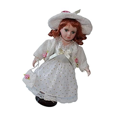 NC NC Muñeca de Porcelana de 30 Cm con Vestido de Princesa de Encaje, Decoración del Hogar - Blanco