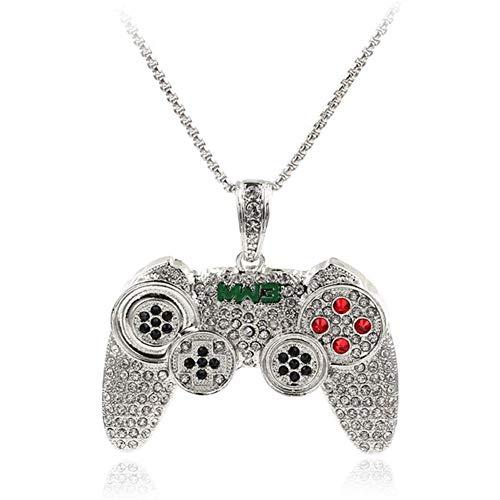 AdorabFruit Présent Pendentif Collar, máquina de Juego de la manija Colgante, Collar de Controlador for Hombre de Cristal por Completo de Largo Collar de Cadena de Moda Juego (Metal Color : 2)