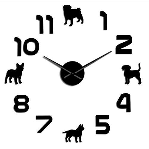 LAYYYQX Hond Puppy Honden Mute Wandklok Pit Pit Bull Franse Bulldog Beagle Met Arabische cijfers Home Decor