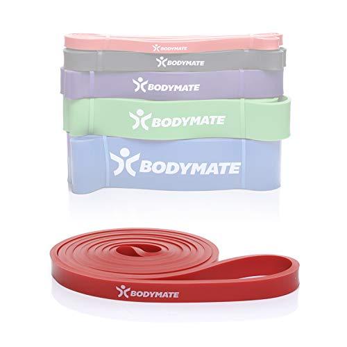 BODYMATE Fitnessband 208 cm, elastisches Widerstandsband aus Naturlatex, trainiert Kraft, Ausdauer, Koordination, Flexibilität UVM, für Anfänger & Profis, in Rot