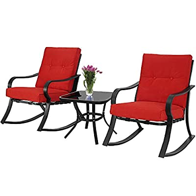 Patiomore 3-Piece Outdoor Patio Furniture Rocking Chairs Bistro Sets, Glass-Top Coffee Table and Black Steel Chairs with Red Thick Cushions