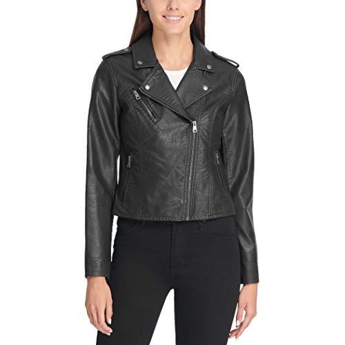 Levi's Women's Plus Faux Leather Classic Asymmetrical Motorcycle Jacket (Standard & Plus Sizes), Black, 3X