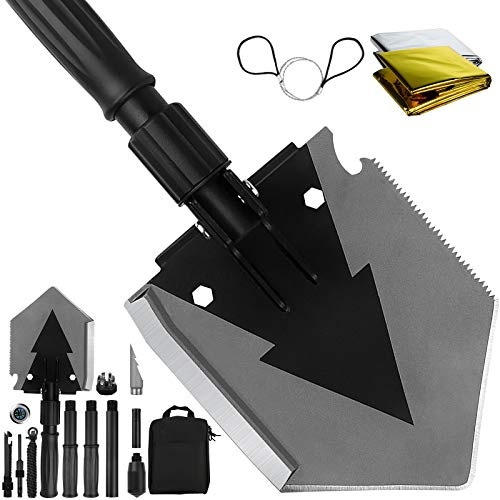 Yeacool Tactical Shovel Camping 38 inch, Folding Survival Multitool, Military Spade for Men, Portable Compact Shovel with Pickaxe for Survivalist, Entrenching and Car Emergency