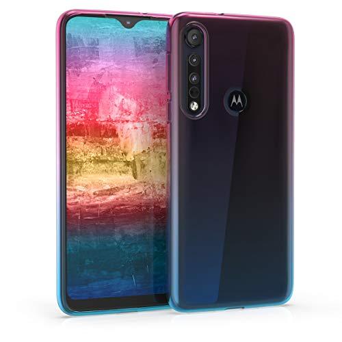 kwmobile Hülle kompatibel mit Motorola One Macro - Hülle Handy - Handyhülle Zwei Farben Pink Blau Transparent