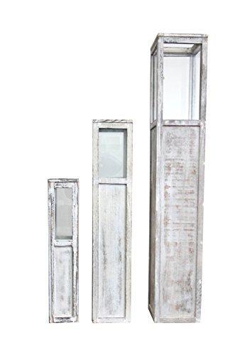 Rebecca Mobili 3er Set Dekolaternen Shabby, Kerzenleuchter in Weiß aus Holz, für Schlafzimmer Wohnzimmer – Maße: 119 x 20 x 20 cm (HxLxB) - Art. RE4289