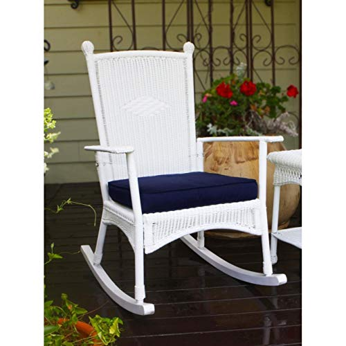 Outdoor White Classic Rocking Chair Modern Contemporary Traditional Urban Resin Steel Wicker Cushion Included