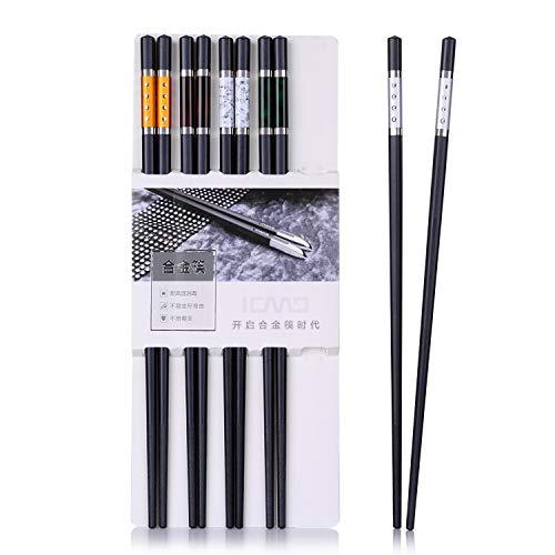 5 Paar Essstäbchen (10 Stück) Japanische Alloy Chopsticks aus umweltfreundlichem Alloy chopsticks ,Edelstahl Essstäbchen in edler Schatulle Geschenkbox(Alloy)