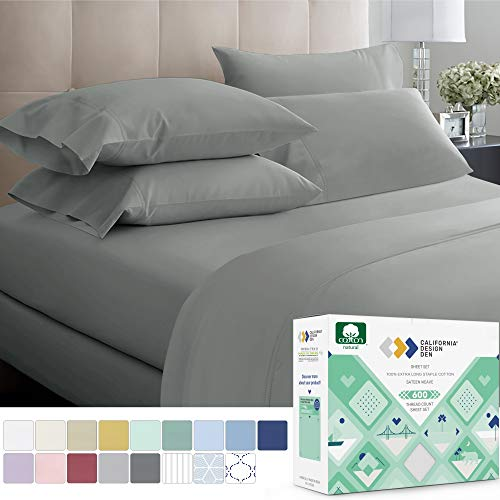 California Design Den 600 Thread Count Best Bed Sheets 100% Cotton Sheet Set - Extra Long-Staple Cotton Sheets for Kids & Adults, 3 Piece Bedding Set with Deep Pocket (Dark Grey, Twin XL)