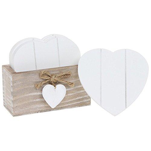 Provence Heart, sottobicchieri a forma di cuore con supporto in legno naturale, stile Shabby Chic, colore bianco
